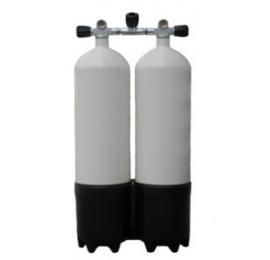 Bi bloc 2x10 litres 230 avec culot et manifold avec isolateur