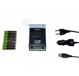 Kit Chargeur Bersub 230V+Allume cigare+4 accus LR6